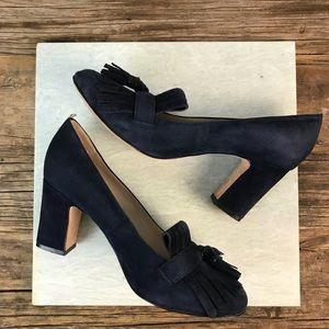 Boden Shoes - Boden Pippa Navy Suede Tassel Slip On Loafer Heels